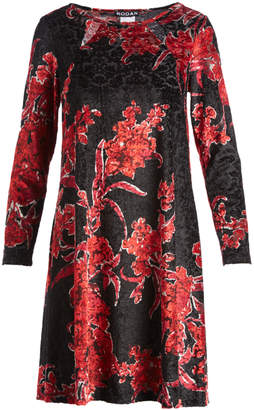 Stellamax StellaMax Women's Career Dresses RED - Black & Red Floral-Print Velvet-Damask Long-Sleeve Shift Dress - Women