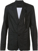 Ann Demeulemeester feather trim casual blazer - men - Cotton - S