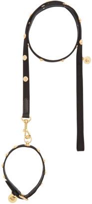 Versace Black Studded Medusa Collar and Leash Set