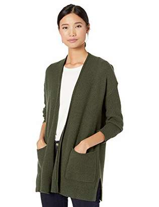 Goodthreads Wool Blend Honeycomb Cocoon Sweater Cardigan, Light Grey Heather, XS