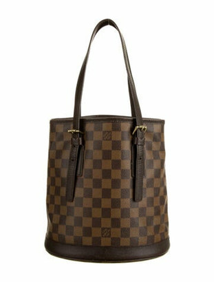 Louis Vuitton Vintage Damier Ebene Marais Bucket Bag Brown