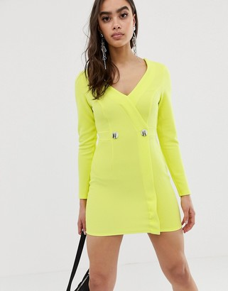 Asos Design DESIGN neon ribbed tux dress with contrast buttons-Yellow