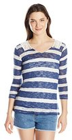 It's Our Time Juniors Long Sleeve Striped Hacci Tunic W Crochet Back