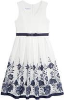 Bonnie Jean Big Girls Floral Embroidered Mesh Dress