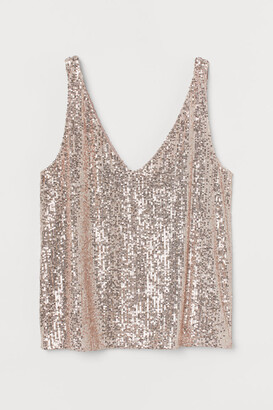 H&M Sequined Sleeveless Top - Pink