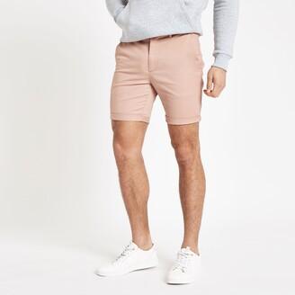 River Island Mens Pink skinny chino shorts