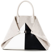 Akris Ai Medium Canvas & Leather Top-Handle Bag, Beige