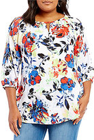 Peter Nygard Plus Printed Cold Shoulder Blouse
