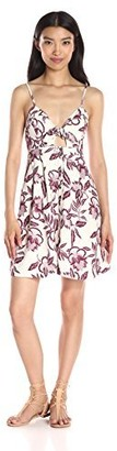 ASTR the Label Women's Maria Sangria Floral Print Peep Hole Dress Small
