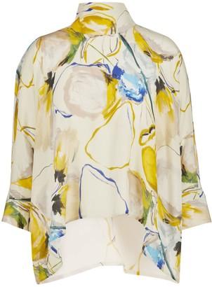 Sika'a Bisi Silk Crepe De Chine Floral Print Blouse