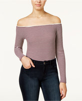 American Rag Striped Off-The-Shoulder Bodysuit, Only at Macy's