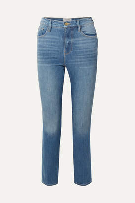 Frame Le Sylvie Cropped High-rise Straight-leg Jeans - Blue