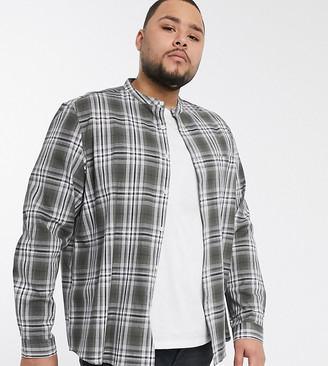Asos DESIGN Plus slim fit check shirt with grandad collar in khaki