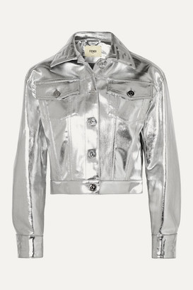 Fendi Cropped Metallic Denim Jacket - Silver