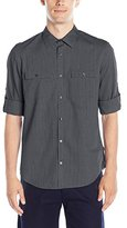 Calvin Klein Men's Denim Stripe Roll-Tab Long-Sleeve Button-Front Shirt
