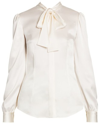 Dolce & Gabbana Stretch-Satin Tieneck Blouse