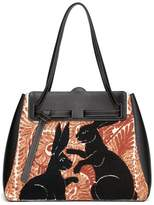Loewe Lazo Rabbit-embroidered Leather Bag - Womens - Red Multi