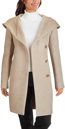 Cole Haan Hooded Wool Blend Coat