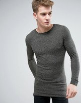 Asos Longline Crew Neck Jumper In Muscle Fit