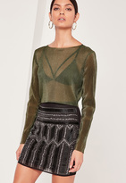 Missguided Pleated Crop Top Khaki