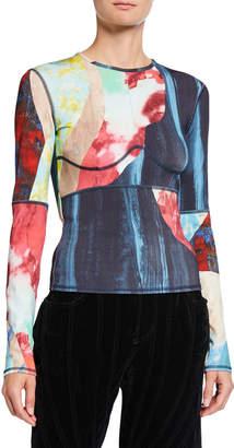 Thierry Mugler Printed Jersey Long-Sleeve T-Shirt