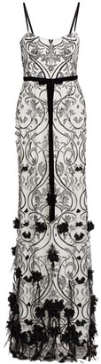 Marchesa Floral & Feather Applique Printed Gown