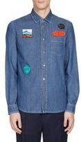Kenzo Badge-Trim Denim Casual Button-Down Shirt