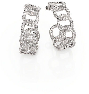 Roberto Coin Diamond & 18K White Gold Link J-Hoop Earrings