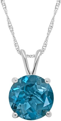 14K Gold 2.20 cttw Round London Blue Topaz Pendant with Chain