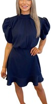 Thumbnail for your product : AX Paris High Neck Puff Sleeve Skater Dress