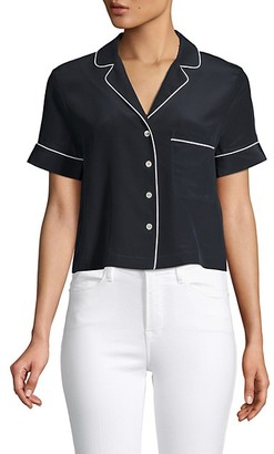 Frame Collared Silk Cropped Top
