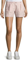 ATM Anthony Thomas Melillo Striped Pleated Linen Shorts, Pink Pattern