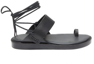 Ann Demeulemeester Toe-ring Leather Wraparound Sandals - Womens - Black