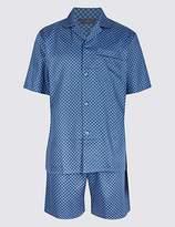 M&S Collection Pure Cotton Printed Pyjama Shorts Set