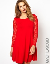 Asos Exclusive Swing Dress With Lace Sleeves
