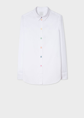 Paul Smith Women's Slim-Fit White Cotton Shirt With 'Signature Stripe' Cuff Lining