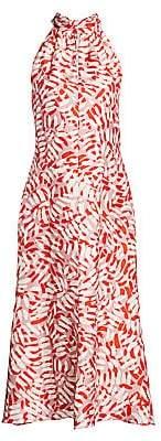 Milly Women's Brushstroke Print Halter Midi Dress