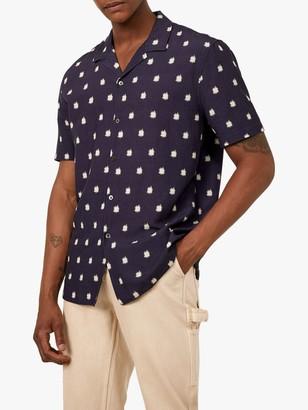 Warehouse Cuban Collar Stamp Print Short Sleeve Shirt