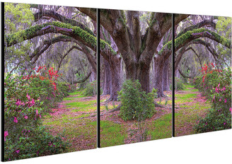 Chic Home Design Lavender Cherry 3Pc Set Wrapped Canvas Wall Art
