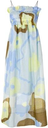 Lee Mathews Kaho shirred abstract print maxi dress