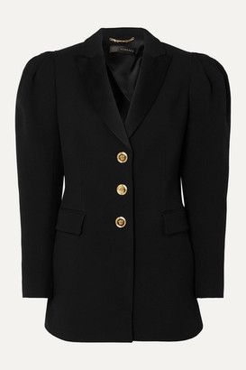 Versace Satin-trimmed Crepe Blazer - Black
