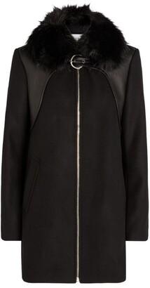 Claudie Pierlot Leather-Panel Coat