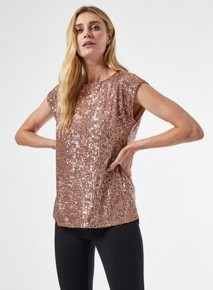 Dorothy Perkins Womens Rose Gold Sequin T