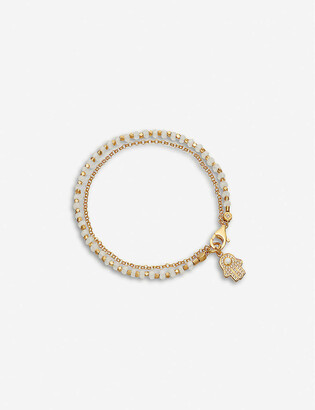 Astley Clarke Hamsa hand charm 18ct gold-plated sterling silver, sapphire pave and rainbow moonstone bracelet