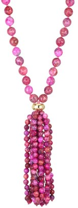 Nest 22K Yellow Goldplated & Magenta Agate Tassel Necklace
