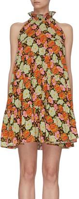 Rhode Resort 'Billy' floral print ruffle halter neck dress