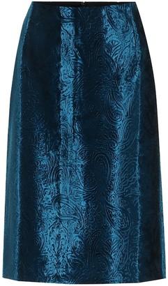 Dries Van Noten Velvet jacquard pencil skirt