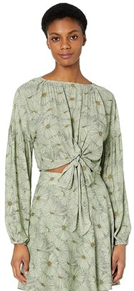 WAYF Aliso Knotted Long Sleeve Top (Olive Daisies) Women's Clothing