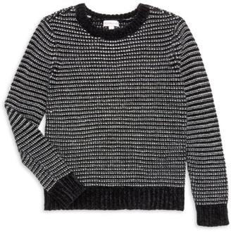 Design History Girl's Striped Chenille Cropped Sweater