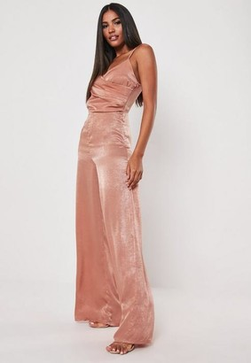 Missguided Pink Hammered Satin Drape Wrap Romper